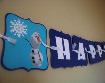 Olaf Banner, Olaf Birthday Banner, Frozen Banner, Frozen Birthday Banner