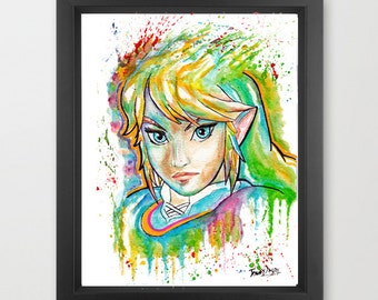 Original - Link (Legend of Zelda) Painting High quality Gloss photo PRINT by Jonny2may A4