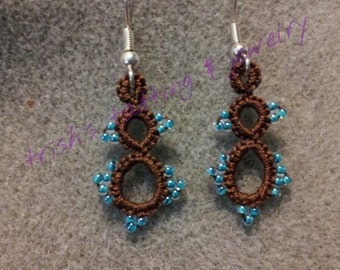 Needle Tatted Earrings Chocolate Dangle