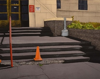 "Mixed media fiber art painting ""K Avenue"""