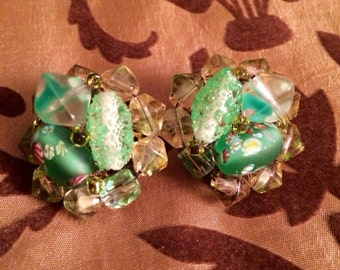 Green & Clear Beaded Clip On Earrings, Signed Japan