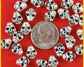Mini Silver Metal Skull Beads - Side Hole - Lot of 50