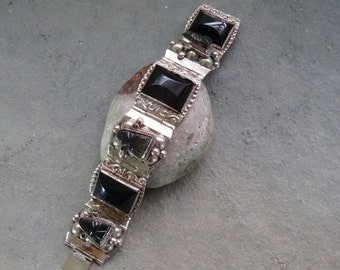 Vintage Southwest Sterling Silver and Onyx Taxco Bracelet Tribal Mexico