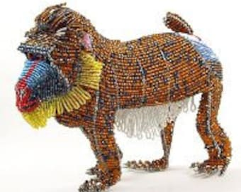 African Fair Trade Beaded Mandrill Figurine - Wireworx wire and glass beaded animal