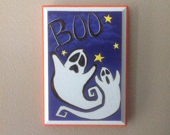 Boo Ghosts - Decorative Halloween Woodburning Art