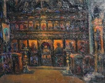 Oil painting church monastery interior