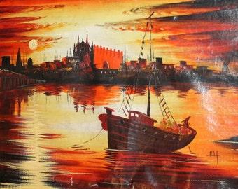 Vintage oil painting cityscape seascape signed