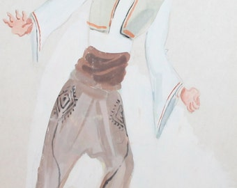 Vintage abstract wc painting theatre costume design signed