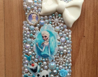 Disney Frozen inspired decoden phone case with pearls and crystals!