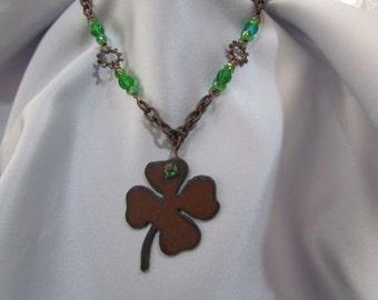 Rusted Iron Shamrock Necklace