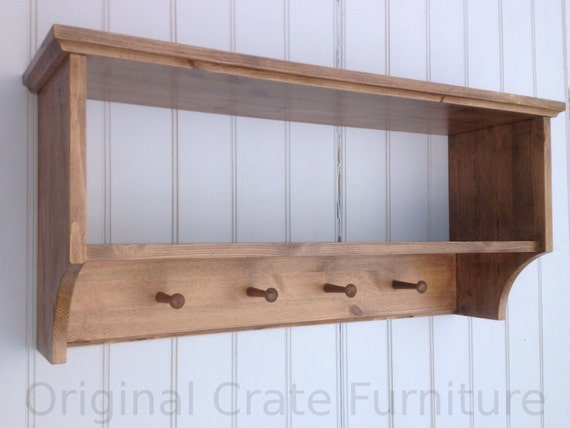 Hat coat rack with shelf Wall mounted solid wood display