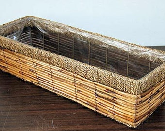 "Medium Rattan Rectangle Planter, 22""l x 7""w x 5""h, RRP-22"