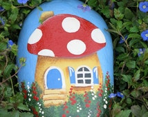 Painted garden cottage rock, yard decoration, Flower Painting