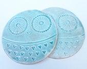 Owl Coasters Set of 2 - Aqua Green Drink Coasters - Round Ceramic Coaster - Animal Coaster Set