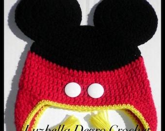 Mickey inspired earflap hat