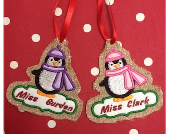 Personalised Penguin Tree Decoration / Gift Tag
