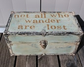 Vintage Chest Trunk Foot Locker with Handles Not all who wander are lost