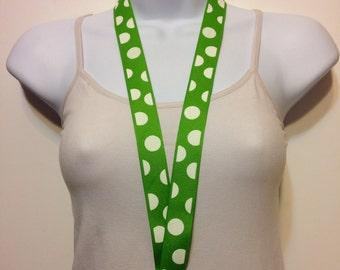 Green polka dots lanyard, ID holder, key holder