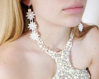 Lace Earrings, Ivory Earrings, Dangle Earrings, Fabric Earrings, Wedding Earrings, Bridal Jewelry, Flower Earrings, Daisy Earrings