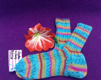 Warm socks Gr. 35 36 pop colorful hand knitted