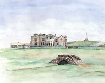 St Andrews Golf Club, Scotland, Watercolor Print
