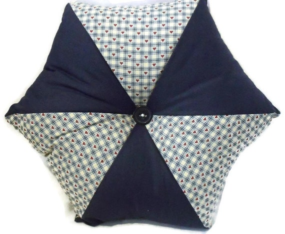 """star cushion, patchwork hexagonal scatter cushion, navy pointed accent pillow with decorative co-ordinating button, 16"""" across"""