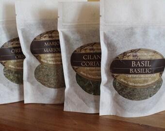 Organic Herbs: Basil Cayenne Chipotle Cilantro Dill Garlic Marjoram Onion Oregano Paprika Parsley Rosemary Sage Savory Tarragon Thyme, more