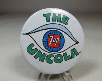Uncola 7Up Pinback Hippie Psychedelic Art Soda Pop Memorabilia Vintage Pinback Hippie Psychedelia Vintage Advertising Pinback Ad