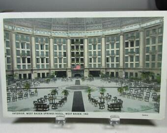 West Baden Springs Hotel Vintage Advertising Postcard Ad West Baden Indiana Paper Ephemera