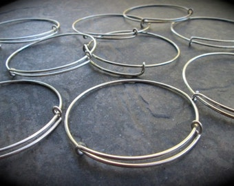 Set of 9 silver finish adjustable bangle bracelet blanks expandable bangle bracelets