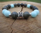 Mens Owl Bracelets, Men Bracelet, Men Jewelry, Gift For Him, Owl Beaded Stretch Stone Bracelet, Larvikite Aquamarine , Wrist Mala