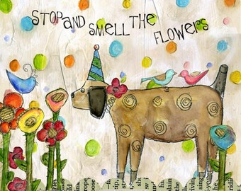 Stop and Smell the Flowers Mini Print with Wire