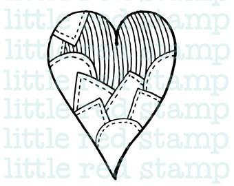 Patchwork Heart Digital Stamp Instant Download PDF JPG Printable Illustration Art Drawing Scrapbooking Love Digistamp