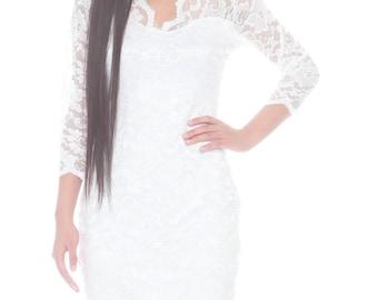 Vivienne V neck Lace Dress-Women's Lace Dress- White Rehearsal Dress, Bachelorette Dress M/L