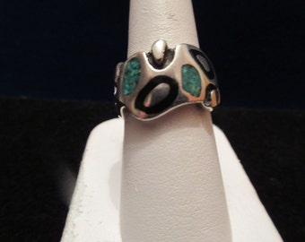 Native American Sterling Silver Turquoise & Onyx Ring