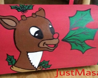 Hand painted Wood Christmas mailbox with Reindeer and Holly Leaves