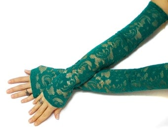Extra long lace green gloves, belly dance costume gloves, lace party gloves, lace fingerless gloves, fantasy gloves, free shipping