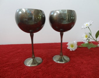 On Sale! Vintage Pair of Spanish Silver Wine Cup with Letter S & C(50% Off)
