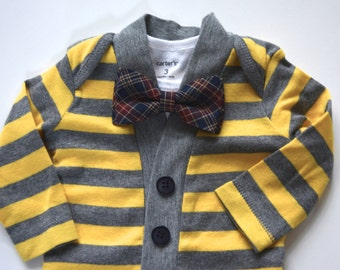 Baby Cardigan bow tie set, navy blue and maroon plaid bow tie and cardigan set, baby cardigan and bow tie set
