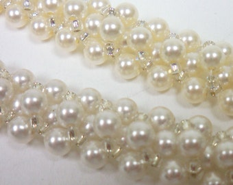 Handmade Jewelry: Embellished Right Angle Weave Pearl Bracelet 32724