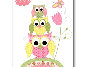 Owl Decor Owl Nursery Digital Print Instant Download Art Baby Nursery Decor Baby Girl Nursery Decor Download Digital Art Download 8x10 11X14