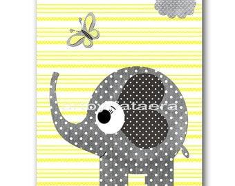 Elephant Digital Art Print Digital Nursery Art Nursery Digital Print Printable Nursery Art Instant Download Baby Boy Nursery Art 8x10 11X14