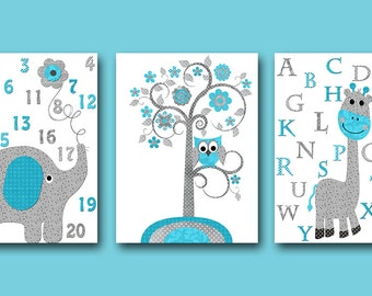 Alphabet Instant Download Childrens Art Digital Download Print Download Digital Art Baby Room Decor Baby Boy Nursery set of 3 8x10 11X14
