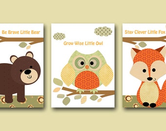 Fox Nursery Owl Decor Bear Nursery Printable Art Instant Download Digital Download Art Baby Room Decor Baby Boy Nursery Set of 3 8x10 11X14