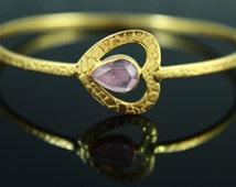 Natural Ruby, Ruby Bracelet, Ruby Bangle, Gemstone Bangle, 18k Gold Plated, Gold Bracelet, Ruby Jewelry