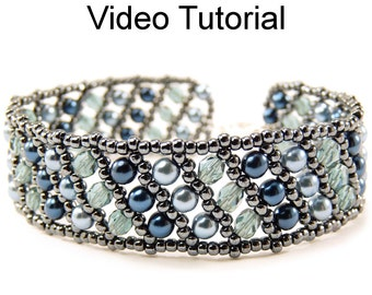 Beading Tutorial Pattern Flat Russian Spiral Stitch Beaded Jewelry Making Bracelet MP4 Beaded Bracelets Bead Step by Step #10020