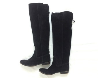 90s Size 6.5M Tall Black Boots | Suede Over the Knee Boots | Nine West