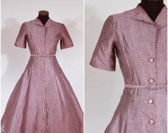 Vintage 1940s 1950s Classic Aubergine Dress S