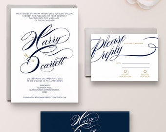 Scarlett Suite - Digital - imprimable-DIY Invitation de mariage, marine de calligraphie, bleu marine, or