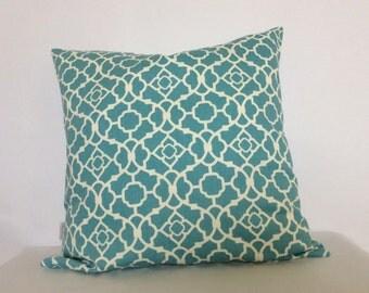 Aqua Blue Pillow,18x18 pillow cover,Lattice print pillow,Decorative pillow,Throw pillow,toss pillow,sham,cushion,Accent pillow,Pillow,